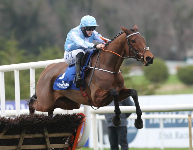 Honeysuckle winning the Irish Champion Hurdle