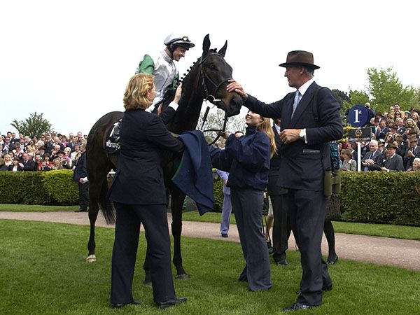 Attraction with the late Duke of Roxburghe after winning the 1000 Guineas at Newmarket