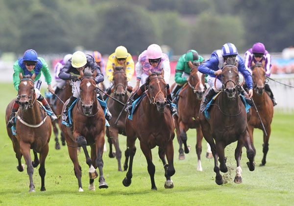 Entifaadha (far right) winning the G3 Acomb Stakes