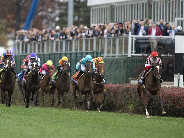 NEWSPAPEROFRECORD well clear in the Grade 1 Breeders' Cup Juvenile Fillies Turf