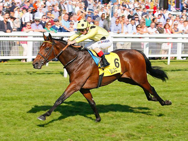 Pierre Lapin Winning the G2 Mill Reef Stakes