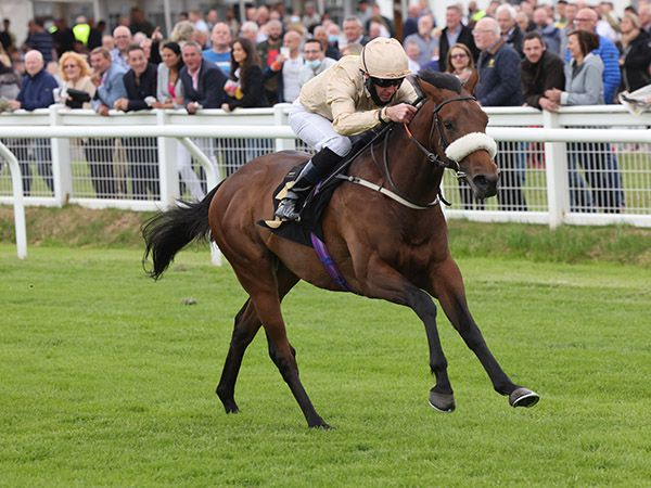 Spitting Feathers finished strongly to break his maiden at Carlisle