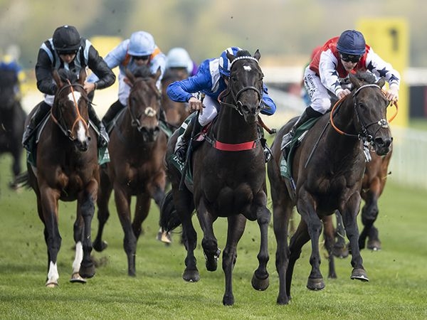 Mohaather (centre) winning the G3 Greenham Stakes