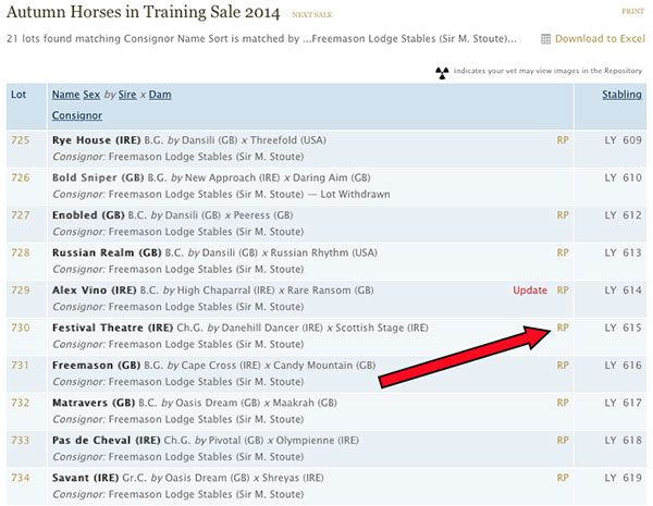 The new Racing Post link on the Autumn Horses in Training list.