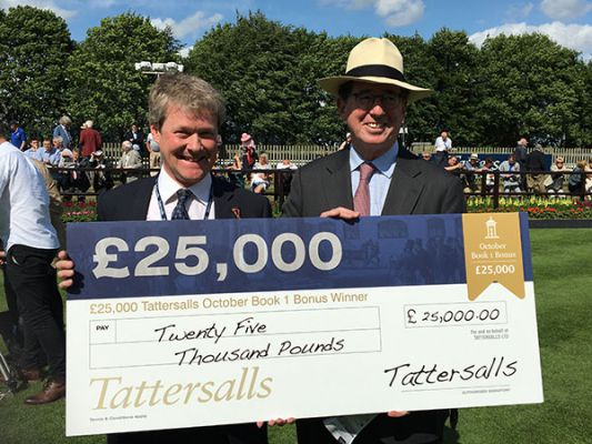 Tattersalls Marketing Director Jimmy George and Juddmonte Farms' Racing Manager Teddy Grimthorpe