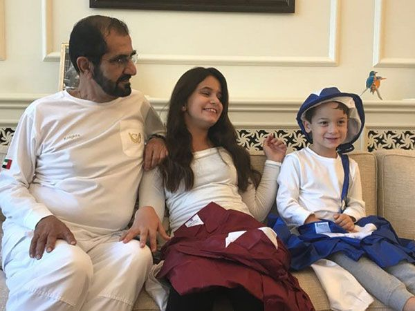 Sheikh Mohammed with daughter Sheikha Al Jalila and son Sheikh Zayed