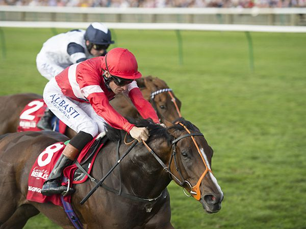 Twiggy Wiggy winning the G1 Cheveley Park Stakes (Copyright Edward Whitaker)