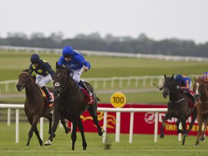 Jack Hobbs drawing clear of his rivals in the Irish Derby