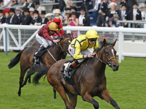 Rizeena winning the G2 Queen Mary Stakes (Copyright Trevor Jones)